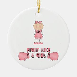Fight Like A Girl Ceramic Ornament