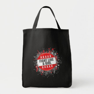Fight Like a Girl Cool Button - AIDS Grocery Tote Bag