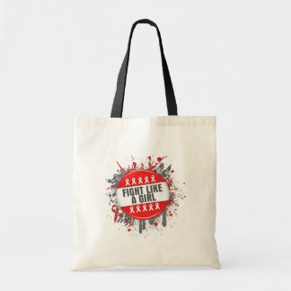 Fight Like a Girl Cool Button - AIDS Budget Tote Bag