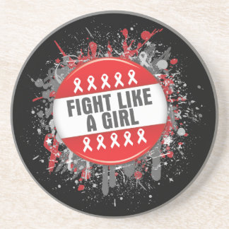 Fight Like a Girl Cool Button - AIDS Coasters