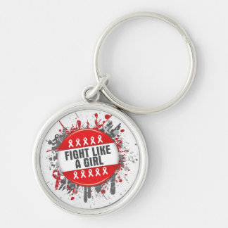 Fight Like a Girl Cool Button - AIDS Silver-Colored Round Keychain