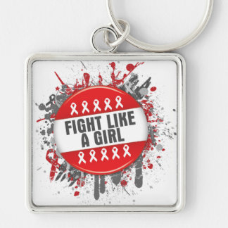 Fight Like a Girl Cool Button - AIDS Silver-Colored Square Keychain