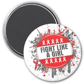 Fight Like a Girl Cool Button - AIDS 3 Inch Round Magnet