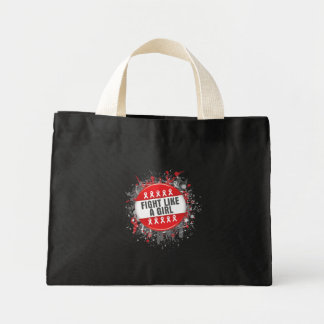 Fight Like a Girl Cool Button - AIDS Mini Tote Bag