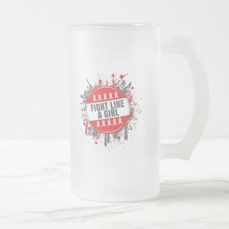 Fight Like a Girl Cool Button - AIDS 16 Oz Frosted Glass Beer Mug