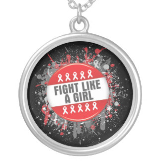 Fight Like a Girl Cool Button - AIDS Round Pendant Necklace