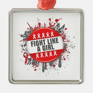 Fight Like a Girl Cool Button - AIDS Square Metal Christmas Ornament