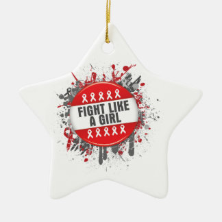 Fight Like a Girl Cool Button - AIDS Double-Sided Star Ceramic Christmas Ornament