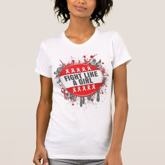 Fight Like a Girl Cool Button - AIDS T-shirt
