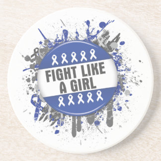 Fight Like a Girl Cool Button - Anal Cancer Drink Coaster