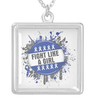 Fight Like a Girl Cool Button - Anal Cancer Square Pendant Necklace