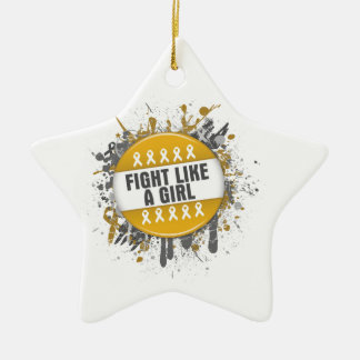 Fight Like a Girl Cool Button - Appendix Cancer Double-Sided Star Ceramic Christmas Ornament