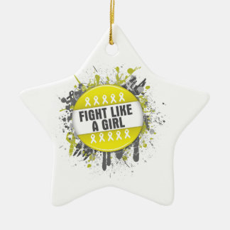 Fight Like a Girl Cool Button - Bladder Cancer Ornament
