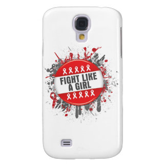 Fight Like a Girl Cool Button - Blood Cancer Samsung Galaxy S4 Case