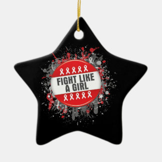 Fight Like a Girl Cool Button - Blood Cancer Ornament