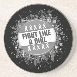 Fight Like a Girl Cool Button - Brain Cancer Beverage Coasters