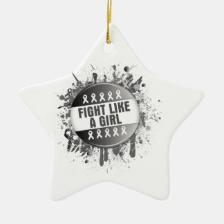 Fight Like a Girl Cool Button - Carcinoid Cancer Double-Sided Star Ceramic Christmas Ornament