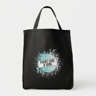Fight Like a Girl Cool Button - Cervical Cancer Grocery Tote Bag