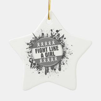 Fight Like a Girl Cool Button - Diabetes Double-Sided Star Ceramic Christmas Ornament