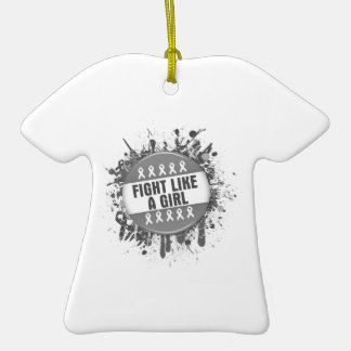 Fight Like a Girl Cool Button - Diabetes Double-Sided T-Shirt Ceramic Christmas Ornament