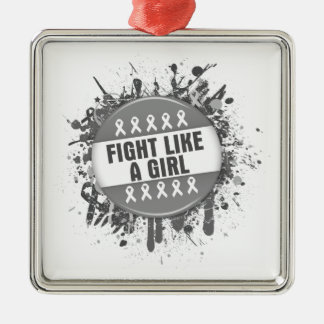 Fight Like a Girl Cool Button - Diabetes Square Metal Christmas Ornament