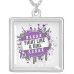 Fight Like a Girl Cool Button - Domestic Violence Pendants