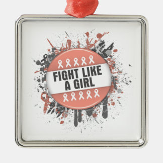 Fight Like a Girl Cool Button - Endometrial Cancer Christmas Ornament