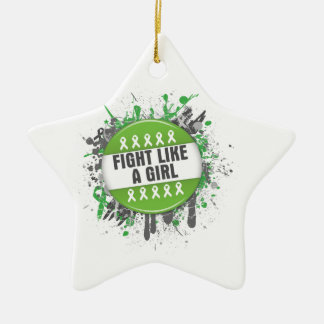 Fight Like a Girl Cool Button - Lyme Disease Christmas Tree Ornament