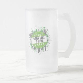 Fight Like a Girl Cool Button - Lymphoma Mug