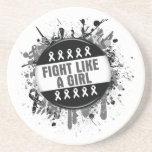 Fight Like a Girl Cool Button - Melanoma Coaster