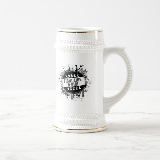 Fight Like a Girl Cool Button - Melanoma Mug