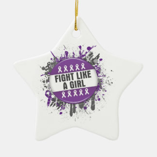 Fight Like a Girl Cool Button - Pancreatic Cancer Christmas Ornament