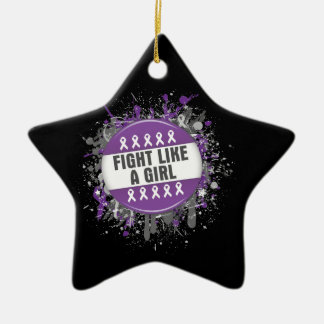 Fight Like a Girl Cool Button - Pancreatic Cancer Christmas Tree Ornaments