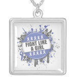 Fight Like a Girl Cool Button - Stomach Cancer Pendant