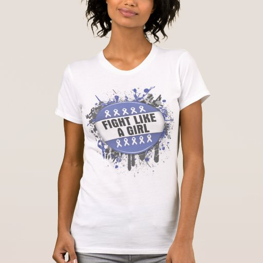 Fight Like a Girl Cool Button - Stomach Cancer Tee Shirts