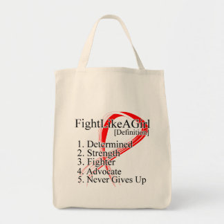 Fight Like a Girl Definition - Oral Cancer Grocery Tote Bag