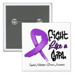Fight Like a Girl - Distressed - Alzheimer's Disea Button
