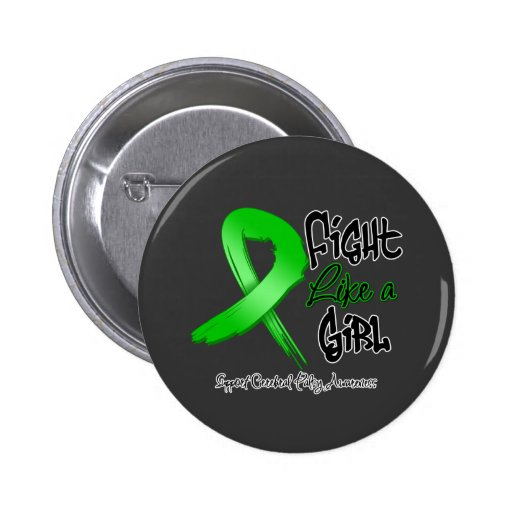 Fight Like a Girl - Distressed - Cerebral Palsy 2 Inch Round Button