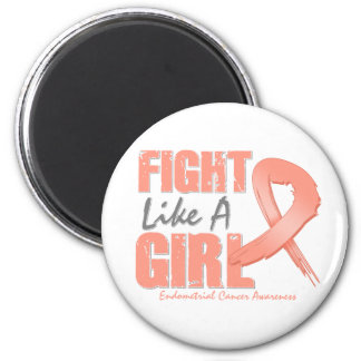Fight Like A Girl Distressed Endometrial Cancer 2 Inch Round Magnet