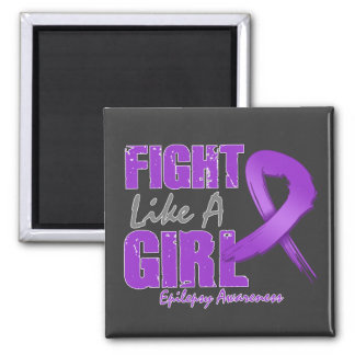 Fight Like A Girl Distressed Epilepsy 2 Inch Square Magnet