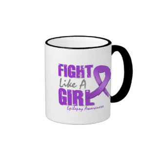 Fight Like A Girl Distressed Epilepsy Ringer Coffee Mug