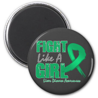 Fight Like A Girl Distressed Liver Disease Refrigerator Magnets