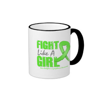 Fight Like A Girl Distressed NonHodgkin's Lymphoma Ringer Coffee Mug