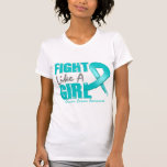 Fight Like A Girl Distressed Ovarian Cancer Tshirts