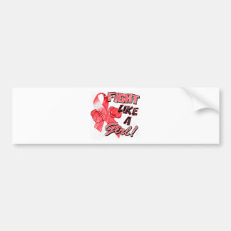 Fight Like A Girl Distressed Red Bumper Sticker