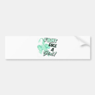 Fight Like A Girl Distressed Teal Bumper Sticker