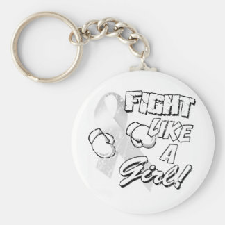 Fight Like A Girl Distressed White Keychain