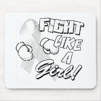 Fight Like A Girl Distressed White Mouse Pad