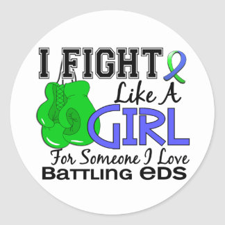 Fight Like A Girl EDS 15.6 Round Stickers