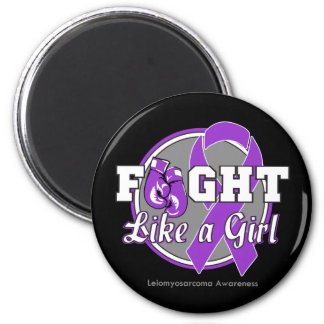Fight Like a Girl Gloves - Leiomyosarcoma 2 Inch Round Magnet